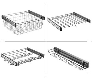 Soft close pull out wardrobe wire basket, Shoe rack, Trouser drawer, Ties hanger