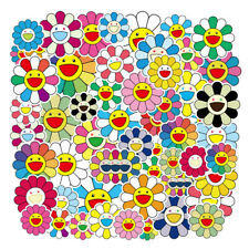 50Pcs Takashi Murakami Flower Rainbow Sticker Bomb Skateboard Laptop Decals Pack