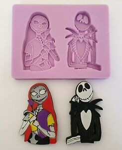 NIGHTMARE BEFORE CHRISTMAS JACK & SALLY SILICONE MOULD FOR CAKE TOPPERS etc