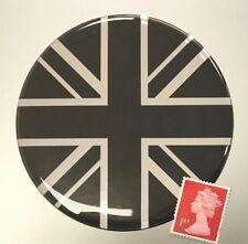 Union Jack Flag Sticker Domed Finish Black & Chrome Large 90mm Diameter