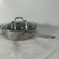 "Emeril Lagasse Copper Clad Stainless Steel 10"" 3 QT Deep Dish Skillet w/ Lid"
