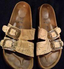 BETULA By Birkenstock Tan/Blue Leather Sandals Slip On Size 36 , US 5