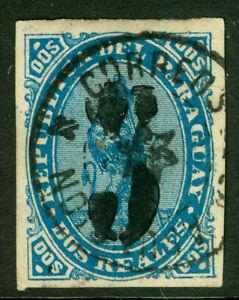 PARAGUAY 1878 LION - BLACK SURCHARGE handstamp  5c /2r blue  Scott # 5 used  VF