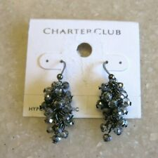 CHARTER CLUB Pierced Earrings w/ Clusters of Faceted Silvered Glass Beads / NOC