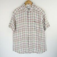 Lacoste Mens Smart Casual Shirt Short Sleeve Checked SZ Large (E2831)