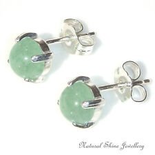 Stud Earrings 1.75 CTW Natural Aventurine Gemstone Cab 925 Sterling Silver 6mm