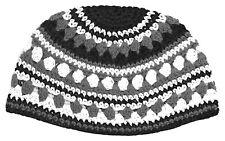 Freak Frik Kippah Yarmulke Thick Knit Crochet Black Gray Striped Israel 21 cm