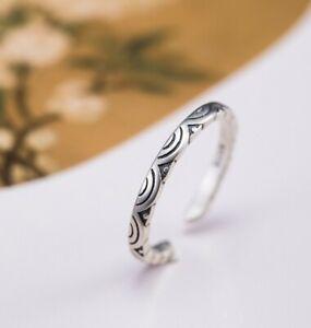 I04 Ring geometrisch mit Halbkreisen Silber 925 Gr. 17 - 18 verstellbar