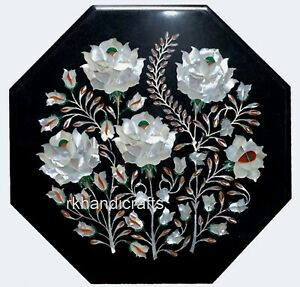 12 Inches Marble Coffee Table Top Inlay Bed Side Table with Mother of Pearl Art