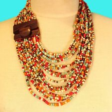 "24"" Red Muticolor Multi Strand Wood Buckle Waterfall Handmade Seed Bead Necklace"