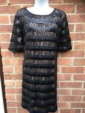 Next Tall Black Striped Sequin Lace Dress Christmas Party NYE LBD Sexy