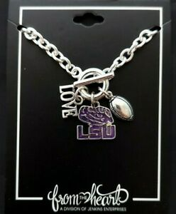 LSU Tigers Touchdown Bracelet with Love Football Charms