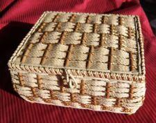 Vintage Wicker Sewing BASKET Big! HOLLYWOOD REGENCY & Padded SILK Interior GOLD!
