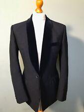 Vintage 1960's bespoke mohair midnight blue shawl collar smoking jacket size 40