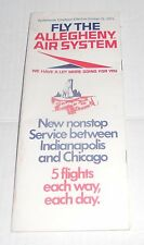 Vintage Allegheny Air Systems Airlines Airplane Schedule & Fares Brochure