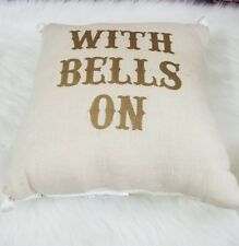 Pottery Barn EM Bell Filled 16 Inches decorative Pillow Ivory Gold