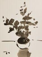 "JOSE TRUJILLO ART EXPRESSIONISM INK WASH ORIGINAL 9X12"" FLORAL LITTLE STILL LIFE"