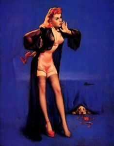 "SALE Gil Elvgren DOG GONE Original Painting Pin-Up Lingerie Stockings Pinup 30"""
