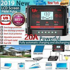 Solar Battery Charge Controller Power Regulator 12V/24V Dual USB 20A LCD Display