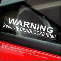 5 x Warning Security DEADLOCKS Fitted Stickers-Car,Van,Boat,Taxi,Security Signs