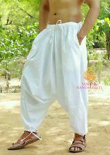 Men Cotton White Harem Yoga Pants Women Sports Harem Trouser Hippie Genie SC7