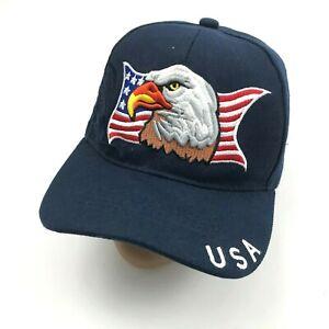 USA Hat Cap Bald Eagle Freedom Bird Embroidered Navy Blue Strapback Adjustable