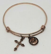 Women's Bangle Charm Bracelet Faith Cross Gold Tone Fashion Jewelry Unbranded