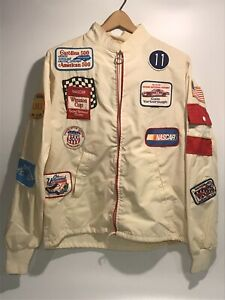 Vintage Cale Yarborough Patch Collection Jacket Folk Art Men's Small NASCAR 70s