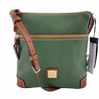 Dooney & Bourke Pebbled Leather Ivy Green Tan Crossbody Bag Purse