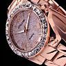Excellanc Damen Armband Uhr Rose Gold Farben Metall Glitzer Strass