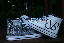 BLACK VEIL BRIDES inspiredCUSTOM HAND PAINTED HIGH TOPS MADE TO ORDER