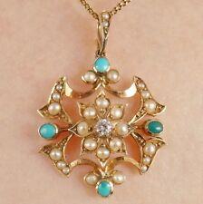 Antico Vittoriano 15 KT GOLD DIAMOND Turchese & Collana con pendente perla c1885