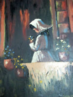 CALIF ARTIST CAROLE OLIN HANDSIGNED HIGH TEXTURED OIL PAINTING,GIRL WITH FLOWERS