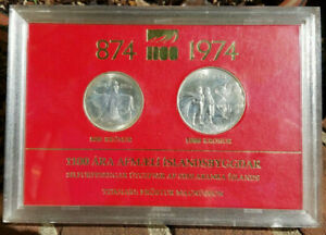 2pc 1974 Iceland silver 500/1000 Kr 1100th Settlement Anniversary boxed set MINT