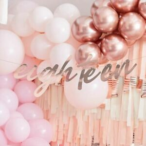 Rose Gold 18th Birthday Bunting   Eighteen Party Banner Foiled Decorations