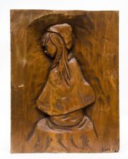 Vintage Hand Carved Wood Wall Decor Plaque Girl