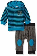 Calvin Klein Baby Boys' Stripes Hooded Pullover with Pants Set Blue 6-9 Months