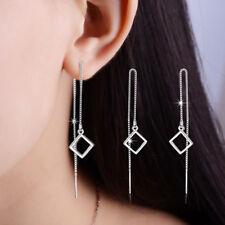925 Silver square Ear Line Earrings Women Lady Fashion Jewelry Party Gift