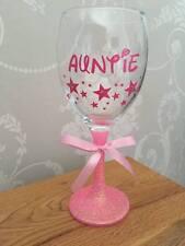 Personalised Glitter Wine Glass - Birthday Mum Sister Auntie Nana