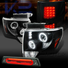 09-14 F150 Halo Projector Headlights+Piano Black Tail Lamps+Smoke LED 3rd Brake
