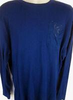 Enyce Mens Pullover Knit Long Sleeve Navy Logo Shirt Large L