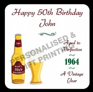 PERSONALISED ANY AGE DATE BEER COASTER 18 21 40 50 60 70 80 90 100 BIRTHDAY GIFT
