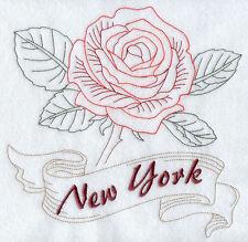 "STATE OF NEW YORK FLOWER FLORAL REDWORK 8"" MACHINE EMBROIDERED QUILT BLOCK (HP)"