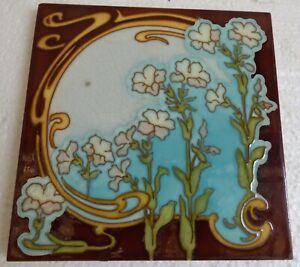 ° White & pink Flowers Art Nouveau Tile Jugendstil Choisy-le-Roi Gilardoni fils