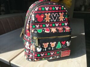 Disney Parks Loungefly Christmas Holiday 2019 Black Snacks Food Mini Backpack