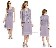 R & M Richards Orchid Sequin Lace & Chiffon Mother Bride Formal Jacket Dress 10