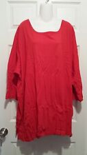 WOMAN WITHIN 3/4 SLEEVE KNIT TOP RED COTTON PLUS SIZE 4X - NEW