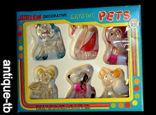 VINTAGE JUSTEN DECORATIVE CRYSTAL PETS NEW MINIATURE DOG CAT ELEPHANT FIGURE NOS