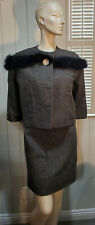 Vtg. Early 60's Gray Wool 2 pc Suit with Marabou Feather trimmed neckline Sz 4