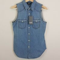 BARDOT | Womens Pearl snap Button Denim Shirt Top NEW  [ Size AU 8 or US 4  ]